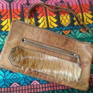 VTG Brown Leather Wristlet Wallet Fur Clutch Bag